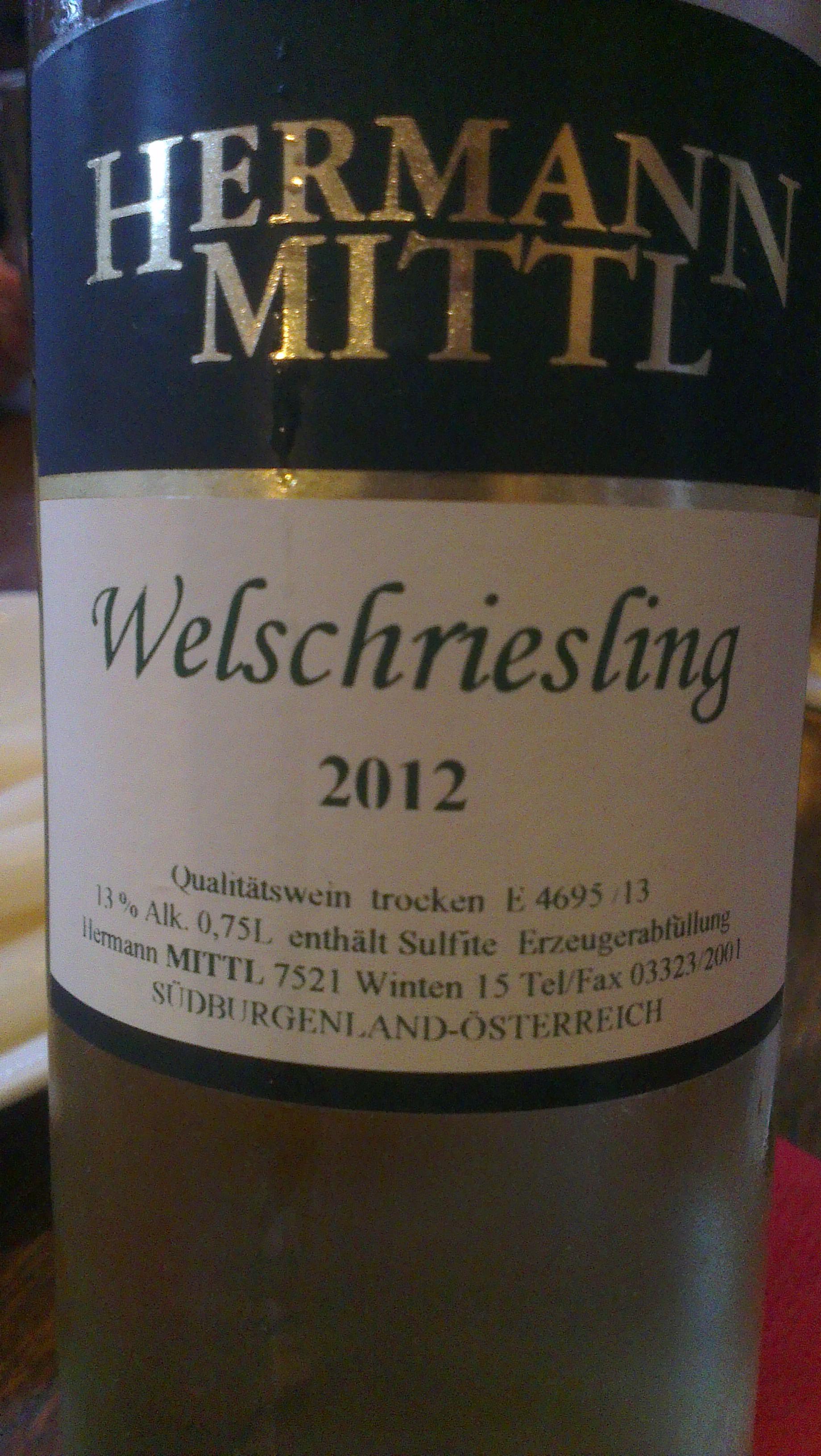 Hermann Mittl Welchriesling 2012, nuestro primer vino austriaco