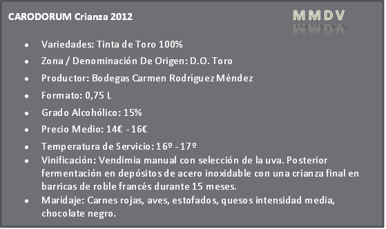 Carodorum crianza 2012