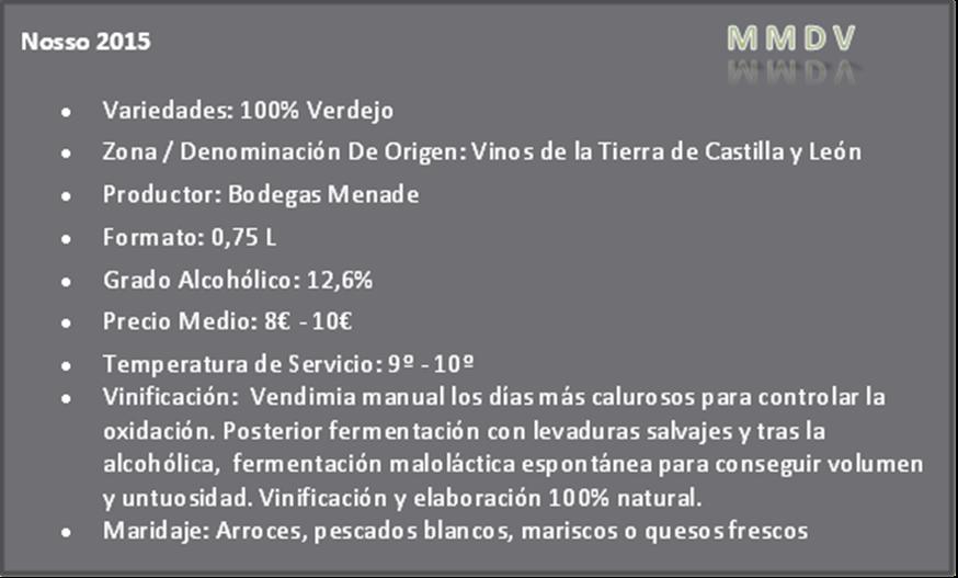 Nosso 2015 Bodegas Menade Vinos de la Tierra de Castilla y León